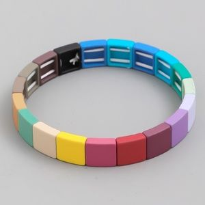 Rainbow Tile Bead Stretch Bracelet